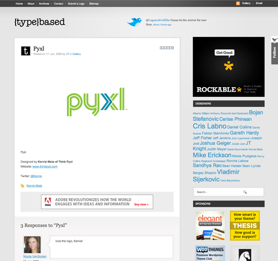 Pyxl logo featured on typebased.com